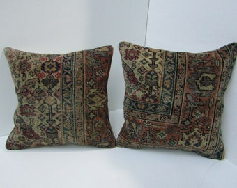 A matching set of 2 rug pillow covers,18''x18''-45x45cm, homedecor rug pillow case,sofadecor pillow cover,cushion cover,pillowcase,H23