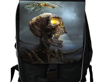 Freaky Skeleton Skull in Chains and Bat Flying in the Night - Black School Backpack
