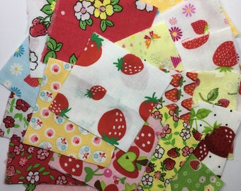 Mini 2.5 inch Charm pack of 44 sqaures Mixed Strawberries