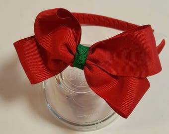 Red Christmas headband with red bow-holiday headband-grosgrain ribbon-girls headband-girls hairband-hair accessories