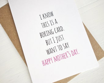 Funny Mother's Day card Boring card Happy Mother's Day greeting card minimalist card for mom