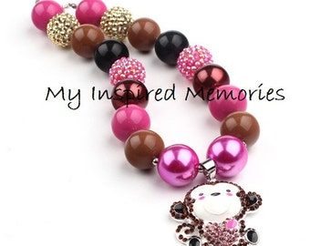 Monkey bubblegum necklace, Monkey necklace, Monkey chunky bubblegum necklace