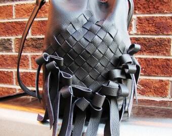 Grey Leather bag with ribbon bows fringe weaved purse, large messenger