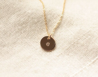 Tiny Gold Initial Necklace - Personalized Hand Stamped Initial Disc Charm, Mother's Necklace - 14k Gold Filled Necklace, Bridesmaid Necklace