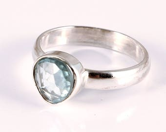 Blue zircon 92.5 sterling silver ring size 6 us