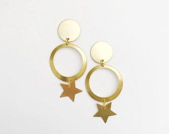 Brass Geometric Star Drops