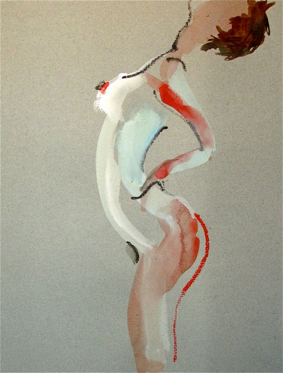 Nude painting- One Minute Pose 76.3 -painted sketch by Gretchen Kelly