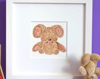 Nursery picture - Baby gift - Watercolor - Teddybear -Deco for baby's room - FUNNY PIROUETTE