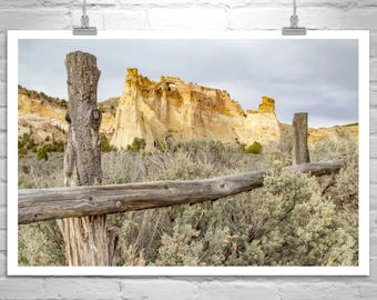 Utah Photography, Sagebrush Art, Desert Landscape, Utah Gift, Wilderness Photograph, Grosvenor Arch, Western Picture, Photo on Canvas