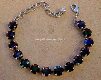 Rainbow Dark Swarovski Crystal Statement Bracelet, Black Rainbow Crystal Cup Chain Tennis Bracelet, High Fashion Austrian Crystal Bracelet