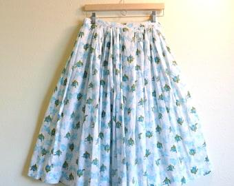 Nelly de Grab Skirt Blue Roses Butterflies Gathered Skirt Romantic Designer Fashion Clothing