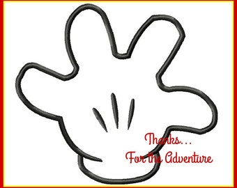 Mickey and Minnie Mouse Glove Hand Digital Embroidery Machine Applique Design File 4x4 5x7 6x10