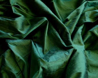 """Iridescent Forest Green Dupioni Silk, 100% Silk Fabric, 44"""" Wide, By The Yard (S-193)"""