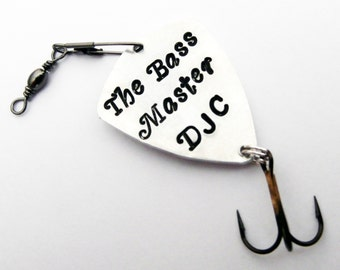 Dad gift personalized fishing lure bass master retirement birthday get well soon just because for him fish hook men father son grandfather