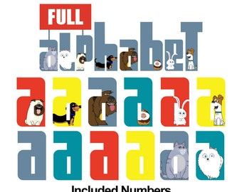 Secret The Life of Pet - Alphabet Clipart - 12 Designs 35 Alphabets 1280 png files 300 dpi