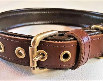 Tan and Brown leather dog collar with solid brass hardware and brown stitching