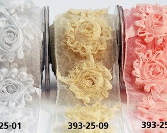 """May Arts 1 yard 2.5"""" Sheer / Frayed / Flowers / Wired  Ribbon 393"""