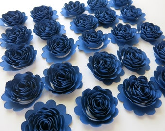 """Navy Blue Carnations, Set of 24, 1.5"""" Scalloped Paper Flowers, Small Roses"""