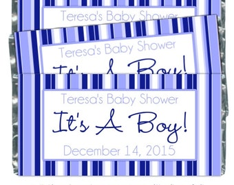Boy Baby Shower Candy Wrappers - fit over 1.55 oz chocolate bars - blue stripes candy wrapper