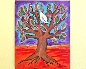 Tree of Life, Jewish Wall Art, Shalom Artwork, Peace Dove with Olive Branch, canvas Painting, Judaica Art, Spiritual Art, Judaica Wall Art