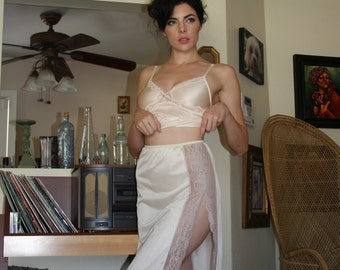 Vintage lace and nylon slip