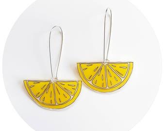 Lemon Wedge Drop Earrings