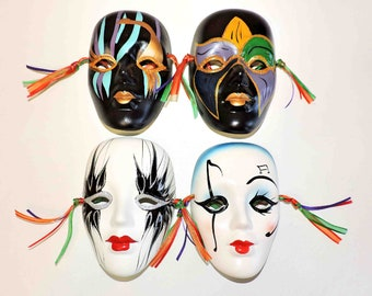 Mardi Gras Set Of Four Vintage Hand Painted Clay Masks From New Orleans Louisiana