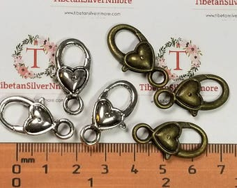 6 pcs per pack 27x12mm Fancy Large Heart Lobster Clasp Antique Silver or Bronze finish Lead Free Pewter.