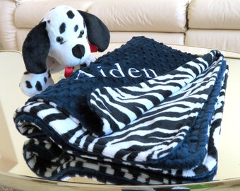 Minky Baby Blanket, Navy Baby Boy Blanket, Newborn Personalized Blanket,  Baby Boy Gift, Baby Shower Gift, Minky Baby Bedding, Crib Blanket