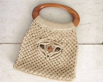 70s Macrame Bag Vintage Wood Handle Purse Beige Brown Hippie Boho Handbag