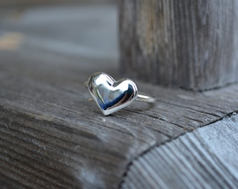 Sale -Sterling Silver Heart Ring, Heart Ring, Heart, Hand Carved, Valentines Day