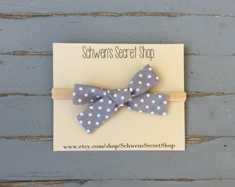 Grey fabric baby bow, hand tied bow, baby girl headband, baby hair bow, baby headband, nylon headband, school girl bow, infant headband