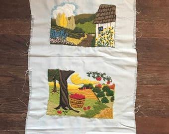 vintage 4 panel seasons embroidery!