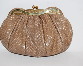 Vintage JUDITH LEIBER Snakeskin Light Brown Clutch with Signature Coin Purse, Comb and Purse Mirror