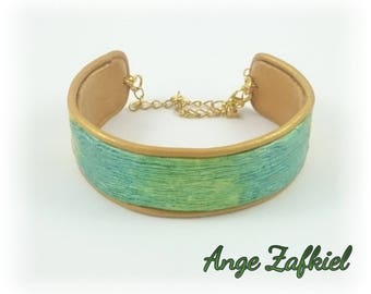 Bracelet - bright - green, blue gold polymer clay