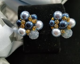 Gorgeous Faux Pearl & Seed Bead Clip Earrings From Hong Kong
