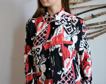 Abstract print blouse 1990s 1980s vintage womens long sleeve summer shirt