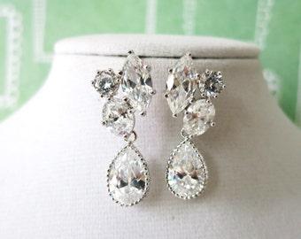 Delphia - Three Shape Cubic Zirconia Earrings with Clear White Teardrop, Bridesmaid Jewelry, Bridal Earrings, White Wedding Earrings