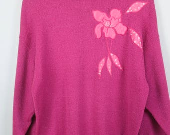 Vintage Sweater, Vintage Knit Pullover, 80s, 90s, pink, flowers, oversized look