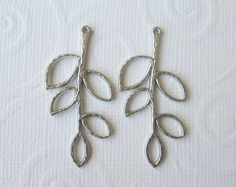 4 Pcs - Matte Rhodium Plated Branch, Leaf Branch, Twig, Pendant, Earrings Findings (38x19MM)