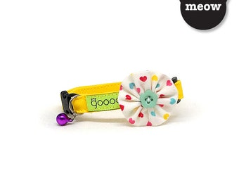 GOOOD Cat Collar   Bloomie - Lovely Daisy   100% Multi Colors Cotton Fabric   Safety Breakaway Buckle