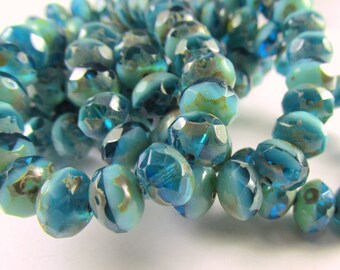10 Czech Glass 8mm x 6m Faceted Rondelle Capri Blue Aqua Green Turquoise Mix Picasso Finish Jewelry Beads