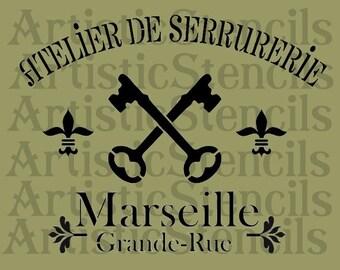 STENCIL French Marseille  10x13