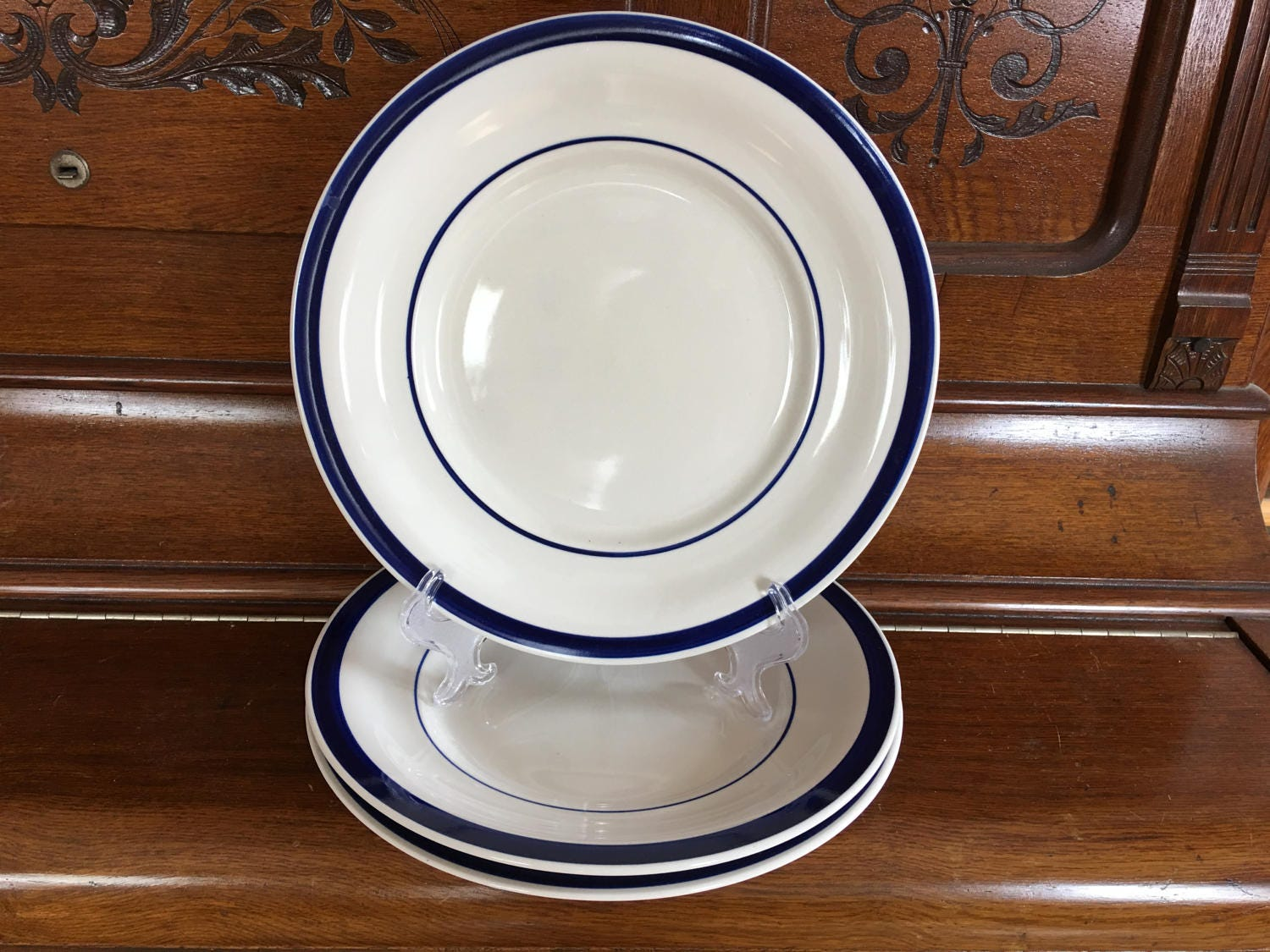 Farberware Trattoria Blue Dinner Plate Set of 3 Cobalt Blue Trim Deep Dish Pattern 4372 China Plates Replacement Plates White and Blue & Farberware Trattoria Blue Dinner Plate Set of 3 Cobalt Blue Trim ...