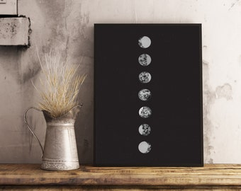 Lunar phases poster watercolor illustration