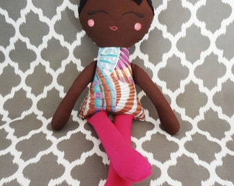 "18"" Girl Cloth/Fabric/Cotton Doll, Hand Painted Face, Dark Skin Tone, Black Hair, Non Removable Clothes, Baby/Child Safe, Birthday Gift"