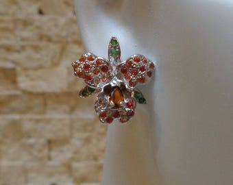 Sapphire, Garnet and Emerald stud orchid earring in Sterling Silver