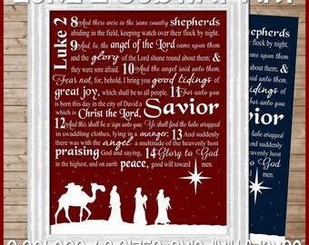 Luke 2 Nativity Christmas Subway Art - Printable INSTANT DOWNLOAD
