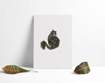 Black Cat - Print Gift - Abstract - Modern - Wall Art - Decor - Cat Gift - Cat Art - Signed Watercolour - Limited - Scandinavian - 8 x 11