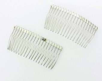 80mm (3 inch) Silver Metal Hair Comb - 2 pieces